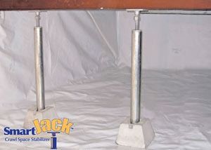 Crawl space structural support jacks installed in Batesville