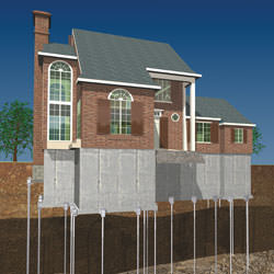 Illustration of a completed installation of a foundation push pier system