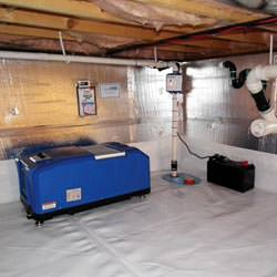 a crawl space vapor barrier and insulation system installed in a home in Cordova