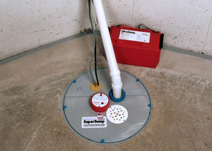 A sump pump system with a battery backup system installed in Olive Branch