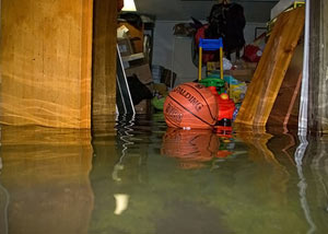 A flooded basement bedroom in Brandon