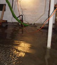 Several feet of floodwaters in a Madison basement
